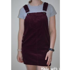 Forever 21 maroon red corduroy overalls dress